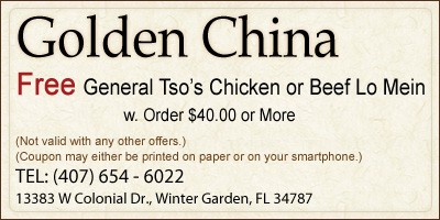 Free General Tso's Chicken or Beef Lo Mein