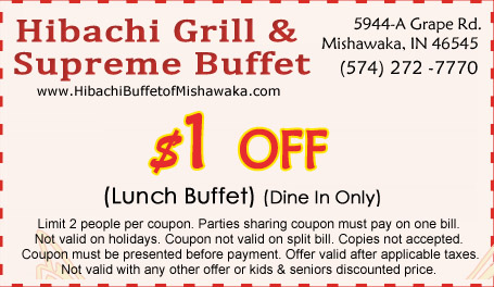 image about Hibachi Grill Supreme Buffet Coupons Printable called Habachi Grill Ultimate Buffet