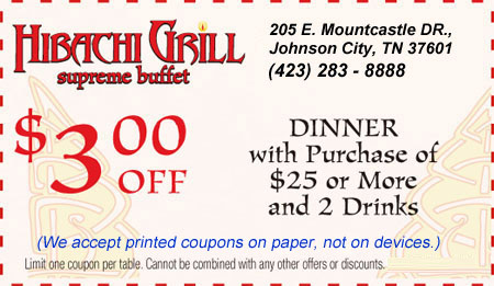 graphic about Hibachi Grill Supreme Buffet Coupons Printable named Hibachi Grill ultimate buffet
