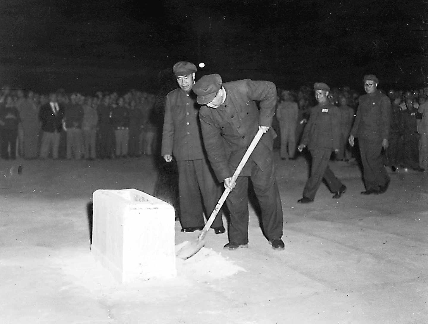 Chairman Mao and other delegates laid the corner stone for the monument